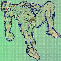 Digitalpainting, Akt, Selbstportrait, liegender Mann, Zeichnung, Divo Santino, Photopapier, liegender Akt, Kraft,