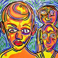 Canvas, Acrylfarbe, Graffiti, Kunst kaufen, Gemälde kaufen, Divo Santino, Maya, Mexico, Indige Völker, Stamm, Neonfarben, leuchten, Naturvölker, Köln, Mann, Männer