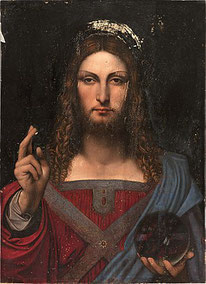 Leonardeschi(ダ・ヴィンチの影響を受けた画家集団)《サルバトール・ムンディ》1503年。ナポリ司教区博物館所蔵。