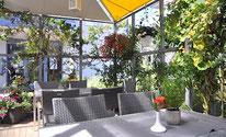 Cafe Schwalbenäscht in Lörrach mit überdachter Gartenwirtschaft.