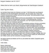 Offener Brief an den Bürgermeister Lutz Urbach von der Petition und Initiative