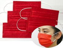 国産3層構造不織布カラーマスク レッド(赤) 5枚入り