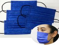 国産3層構造不織布カラーマスク ブルー(青) 5枚入り