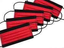 国産3層構造不織布カラーマスク レッド×ブラック 5枚入り