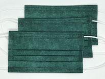 国産3層構造不織布カラーマスク ダークグリーン(緑) 5枚入り