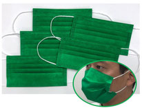 国産3層構造不織布カラーマスク グリーン 5枚入り