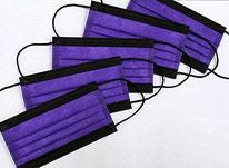 国産3層構造不織布カラーマスク パープル×ブラック 5枚入り