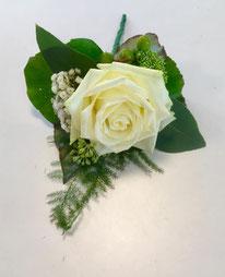 corsage bruiloft witte roos