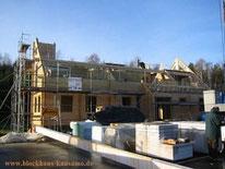 Blockhaus Baustelle Hausbau - frei geplante Holzhäuser - Bausatz -schlüsselfertig - Holzbausatz - Ausbauhaus - schlusselfertig - Doppelhaus - Zweifamilienhaus - Bauen im Winter