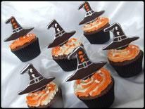 cupcake, halloween, chocolat, poche à douille, chapeau, sorcière, halloween, tutoriel