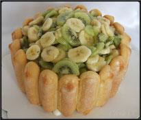 dessert, recette, pâtisserie, charlotte, salade de fruits, banane, kiwi, noix de coco, boutique en ligne pâtisserie et cake design