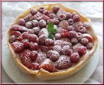 tarte, fraise, framboise, feuille brick, fromage blanc, faisselle