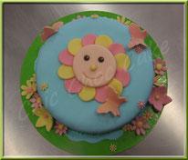 pâte à sucre, pâte d'amande, cake design, fleur, soleil, gâteau, décoration gâteau