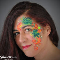 solenn minier maquilleuse professionnelle face painting maquillage tropical feuilles leaves rennes bretagne