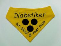 Blindenhalstuch mit Zusatz Diabetiker,Blinden Logo, blinder Hund, Halstuch für blinden Hund