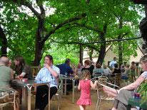 Proef de wijnen van Bergerac het restaurant op een terras in de schaduw van eiken