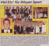 Cronenberger Woche Bericht vom 24.02.2006 Sportlerehrung 2005