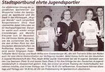 Westdeutsche Zeitung Bericht vom 23.03.2007 Sportlerehrung Jugend