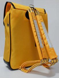 肩ベルトクッションカバー 黄色 装着例