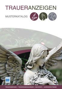 """Musterkatalog """"Trauer"""" (Farbe) für Anzeigen in der Zeitung """"Snevern aktuell"""" oder der Zeitung """"Hüt un Lüd"""", gesetzt bei Astrid Röben Printmedien in Neuenkirchen."""