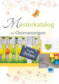 """Musterkatalog """"Ostern"""" (Farbe) für Anzeigen in der Zeitung """"Snevern aktuell"""" oder der Zeitung """"Hüt un Lüd"""", gesetzt bei Astrid Röben Printmedien in Neuenkirchen."""
