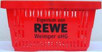 Einkaufskorb bedruckt mit Logodruck, roter Korb mit schwarzem Druck