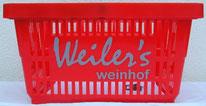 Einkaufskorb rot, bedruckt mit Logo Weiler´s Weinhof in grau