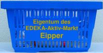Mit Logodruck in gelb, blauer Einkaufskorb, Edeka Eipper