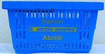 Einkaufskorb blau, bedruckt mit Logo und Schriftzug Edeka Abröll