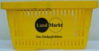Bedruckter Einkaufskorb in gelb, Logodruck in schwarz