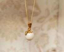 Perle Sterling Silber vergoldet mit Echtgold Buchstabenanhänger