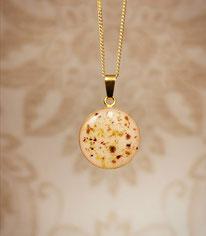 vergoldetes 18 mm Medaillon mit Nabelschnurflöckchen