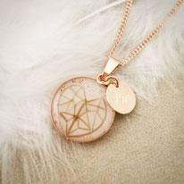 18 mm Medaillon Sterling Silber rosévergoldet mit geometrischen Herz aus Haaren und Gravurplättchen