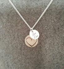 12 mm Medaillon mit Herz aus Haarsträhnen und Gravurplättchen in Sterling Silber