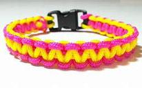 bracelet en paracorde jaune et rose