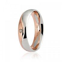 Fede Nuzilai Unoaerre Galassia  in oro bianco e rosa con diamante