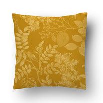 Mustard colored cushion with tonal Leaf print -botanical art - Mademoiselle Camille