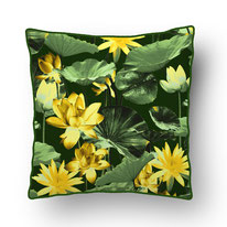 printed Cushion, designed by Mademoiselle Camille, choose your design, choose your print, choose your fabric: velvet, Popeline, Outdoor / water lilys, lotus flower