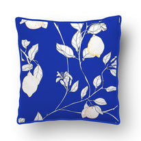 printed Cushion, designed by Mademoiselle Camille, choose your design, choose your print, choose your fabric: velvet, Popeline, Outdoor / illustrated Lemons with yellow details on an eclectic blue ground