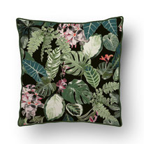 printed Cushion, designed by Mademoiselle Camille, choose your design, choose your print, choose your fabric: velvet, Popeline, Outdoor / green jungle