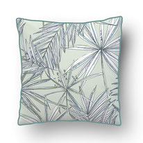 printed Cushion, designed by Mademoiselle Camille, choose your design, choose your print, choose your fabric: velvet, Popeline, Outdoor / illustrated papyrus plants