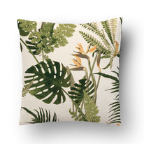 printed Cushion, designed by Mademoiselle Camille, choose your design, choose your print, choose your fabric: velvet, Popeline, Outdoor / fern and strelizia