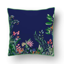 naive drawn jungle animals and plants on a dark blue ground printed on a cushion