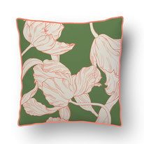 coral tulip details on an moss green ground, printed cushions by mademoiselle camille