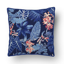 printed Cushion, designed by Mademoiselle Camille, choose your design, choose your print, choose your fabric: velvet, Popeline, Outdoor / blue jungle
