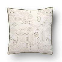 printed Cushion, designed by Mademoiselle Camille, ikat impression, boucherite, grafik pattern