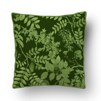 printed Cushion, designed by Mademoiselle Camille, choose your design, choose your print, choose your fabric: velvet, Popeline, Outdoor / copper engraved plants