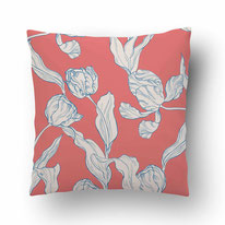 printed Cushion, designed by Mademoiselle Camille, choose your design, choose your print, choose your fabric: velvet, Popeline, Outdoor / illustrated tulips