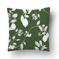 printed Cushion, designed by Mademoiselle Camille, choose your design, choose your print, choose your fabric: velvet, Popeline, Outdoor / illustrated lemons on a green ground