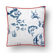 printed Cushion, designed by Mademoiselle Camille, choose your design, choose your print, choose your fabric: velvet, Popeline, Outdoor / illustrated fishes